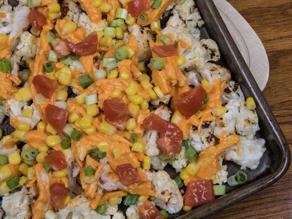 Buffalo Chicken Cauliflower Nachos