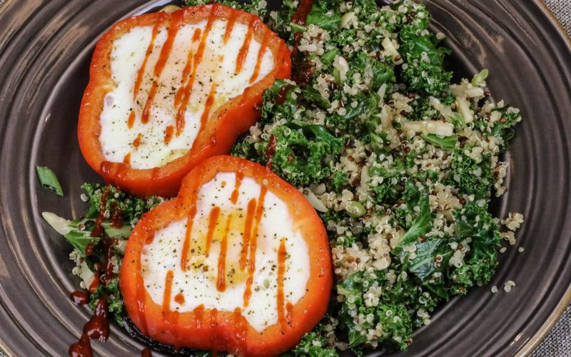Kale Quinoa Bowl & Pepper Eggs
