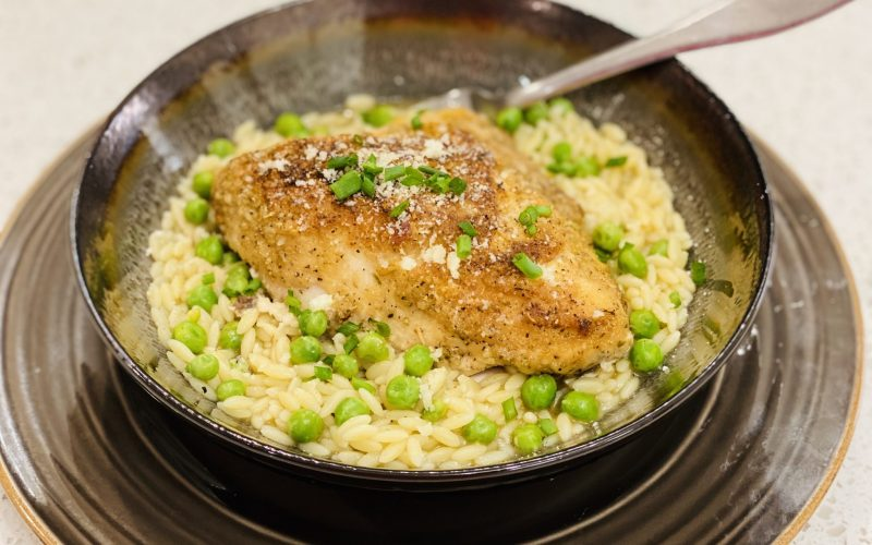 Roasted Chicken with Orzo and Peas