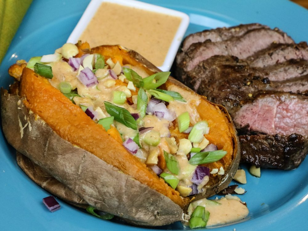Steak and Thai Stuffed Sweet Potatoes