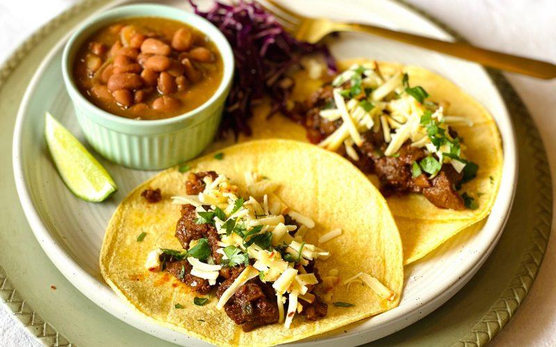 Ribeye Tacos & Drunken Beans