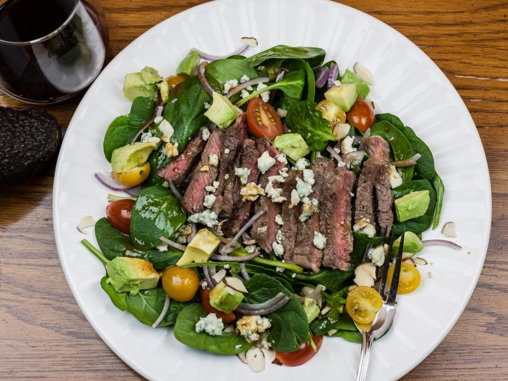 Steak & Blue Spinach Salad