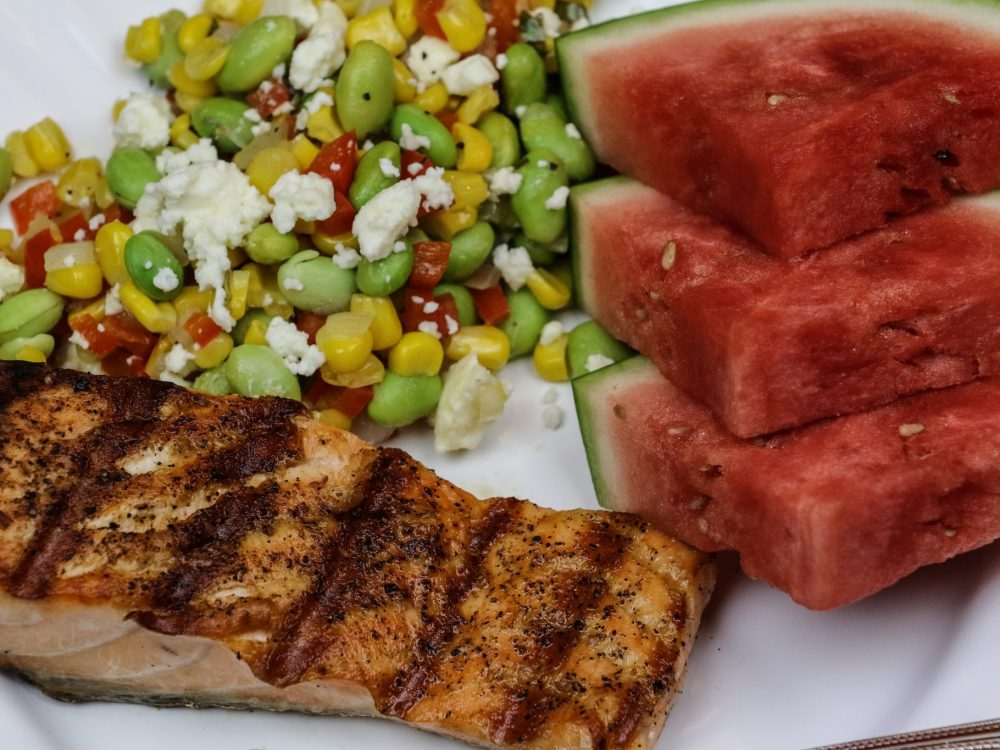 Grilled Salmon & Feta Succotash