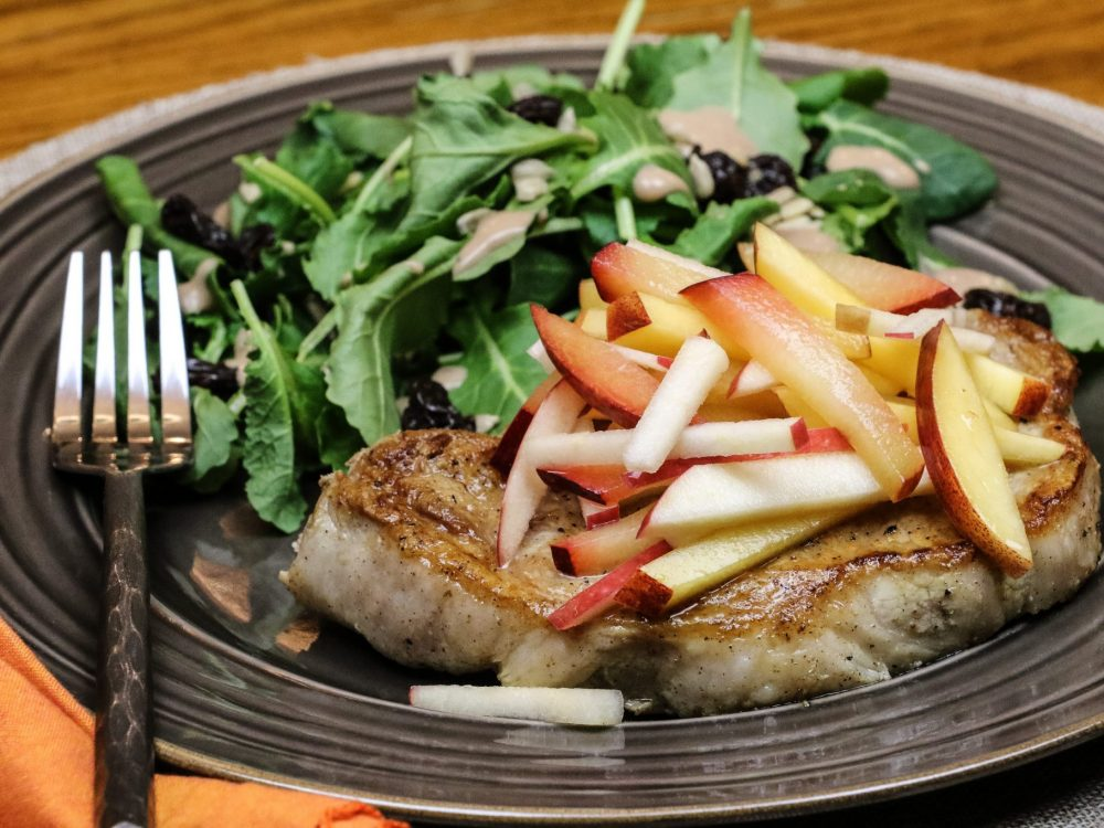 Grilled Chops & Stone Fruit Slaw