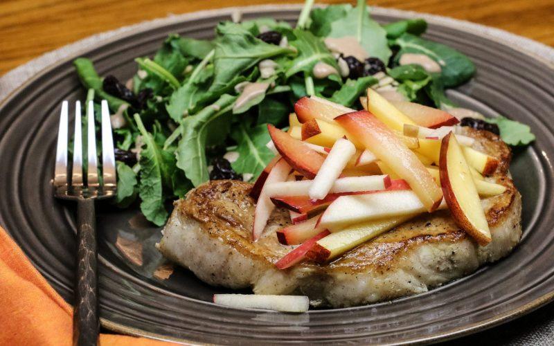 Grilled Chops & Stone Fruit Slaw