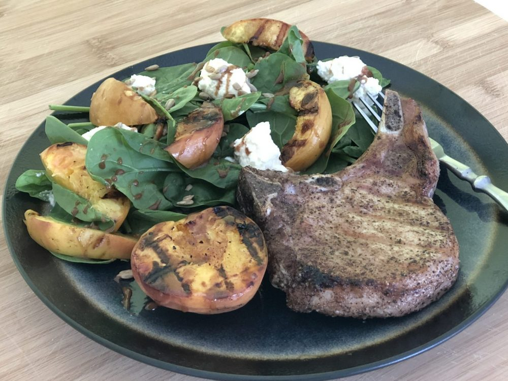Pork Chops & Grilled Peaches