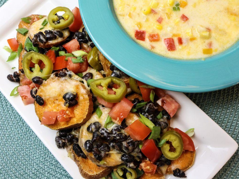 Sweet Potato Nachos & Corn Chowder